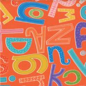 Moda - ABC Menagerie - 3084 - Alphabet on Orange, Multi Colour - 39522-16 - Cotton Fabric